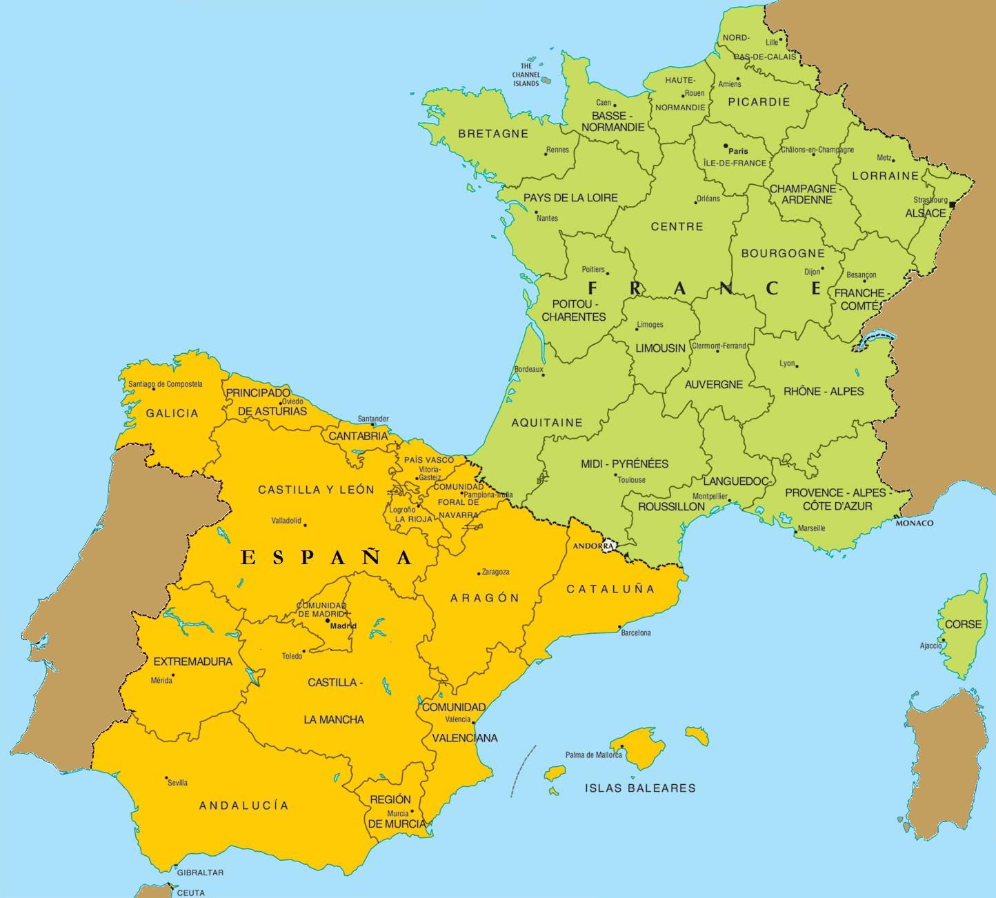 carte france et espagne 25 Images Carte De France Et Espagne